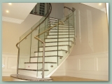 Curved Glass balustrade Marble Steps